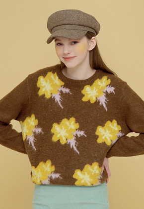 Margarin Fingers마가린핑거스 FLOWER JACQUARD KNIT BROWN