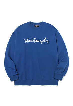 Markgonzales마크곤잘레스 M/G SIGN LOGO CREWNECK INDIGO BLUE