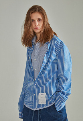 NOHANT노앙 DOUBLE LAYER LABEL SHIRT STRIPE BLUE