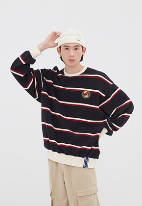Romantic Crown로맨틱크라운 21C BOYS STRIPED SWEATSHIRT_NAVY