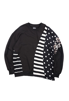AJO BY AJO아조바이아조 Mixed Fabrics Oversized Sweatshirt [Black]