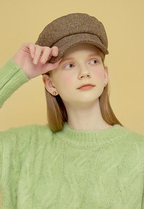 Margarin Fingers마가린핑거스 HERRINGBONE NEWSBOY CAP