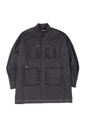 AJO BY AJO아조바이아조 Oversized Fisherman Shirt [Charcoal]