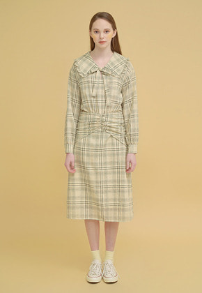 Margarin Fingers마가린핑거스 BIG COLLAR RIBBON DRESS LEMON