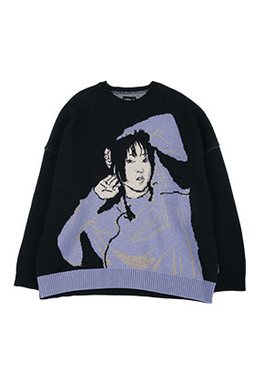 AJO BY AJO아조바이아조 Oversized SeeSea Wool Knit Sweater [Black]
