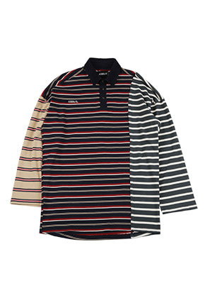 AJO BY AJO아조바이아조 Oversized Tri Color Rugby T-Shirt [Navy]
