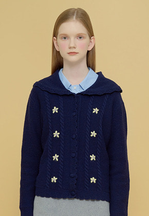 Margarin Fingers마가린핑거스 FLOWER SAILOR CARDIGAN NAVY