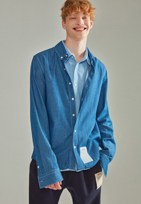 NOHANT노앙 DOUBLE LAYER LABEL SHIRT DENIM
