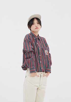 Romantic Crown로맨틱크라운 90S STRIPED SHIRT_BURGUNDY