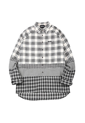 AJO BY AJO아조바이아조 Oversized Check Mixed Shirt [White]