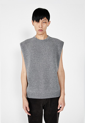 LLUD러드 (LLUD x STU) Stitch Knit Vest Grey