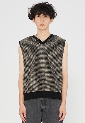 INNER CITY AUDIO이너시티오디오 OVERFIT KNIT VEST BEIGE