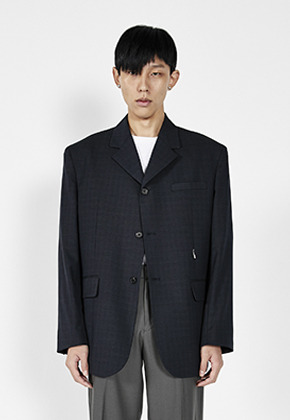LLUD러드 (LLUD x STU) 3 Button Overfit hook Blazer Navy