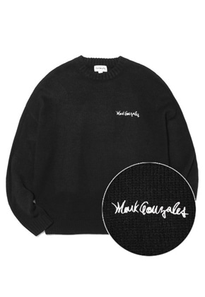 Markgonzales마크곤잘레스 M/G SIGN LOGO CREWNECK KNIT BLACK