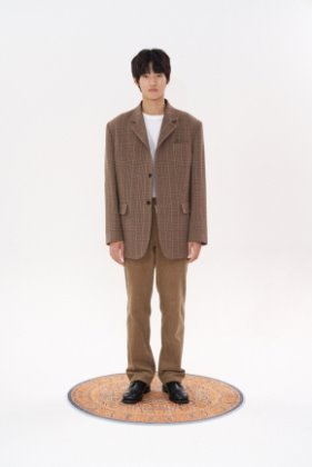 STU에스티유 3 Button overfti hook check blazer beige