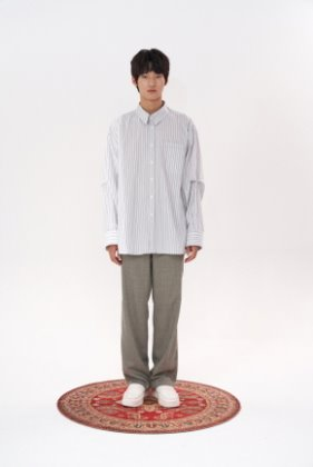 STU에스티유 Overfit divided stripe shirt grey white