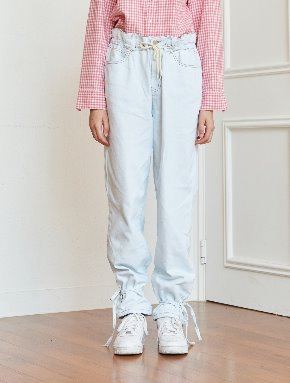13Month써틴먼스 [10/18 예약배송] STRING WASHING DENIM PANTS (LIGHT BLUE)