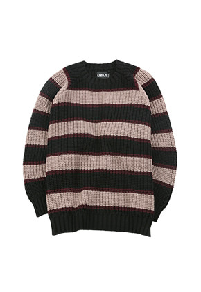 AJO BY AJO아조바이아조 Oversized Stripe Sweater [Black]