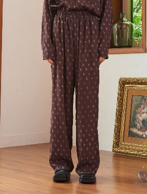 13Month써틴먼스 13M PRINT WIDE BANDING PANTS (BROWN)