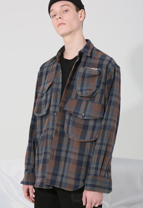 MISTER CHILD미스터차일드 CARGO ZIPPER SHIRTS (BROWN CHECK)
