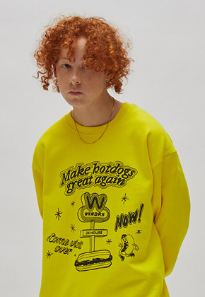 WKNDRS위캔더스 HOTDOG SWEATSHIRT (YELLOW)