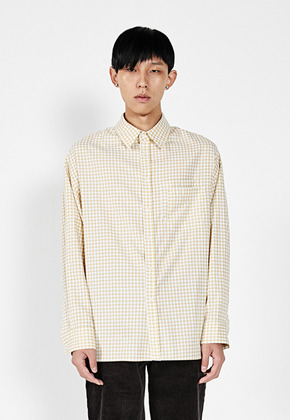 LLUD러드 (LLUD x STU) Overfit Check Shirt Yellow