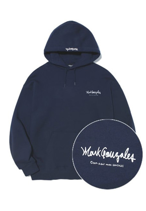 Markgonzales마크곤잘레스 M/G SMALL SIGN LOGO HOODIE NAVY
