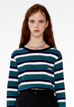 KIRSH키르시 COLOR STRIPE T-SHIRTS IA [GREEN]
