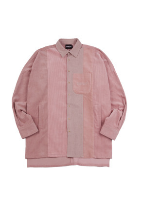 AJO BY AJO아조바이아조 Mixed Corduroy Oversized Shirt [Pink]