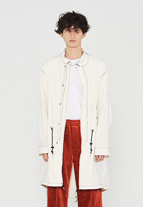 INNER CITY AUDIO이너시티오디오 STITCH CONTRAST FISHTAIL PARKA OFF WHITE