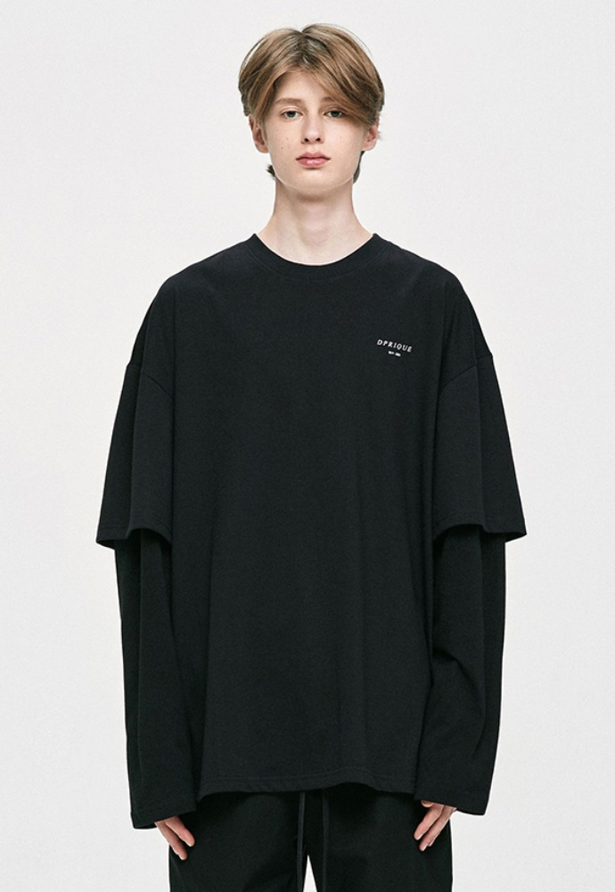 D.prique디프리크 [IKON 동혁 착용] Oversized Layered T-Shirt - Black