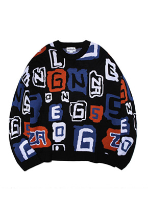 Markgonzales마크곤잘레스 M/G MULTI JACQUARD CREWNECK KNIT BLACK