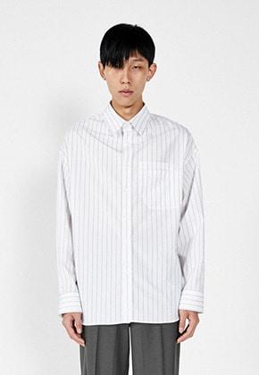 LLUD러드 (LLUD x STU) Double Pocket Stripe Shirt White