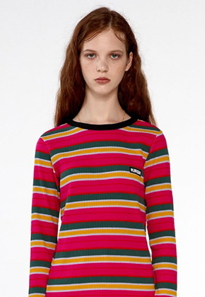 KIRSH키르시 COLOR STRIPE T-SHIRTS IA [HOT PINK]