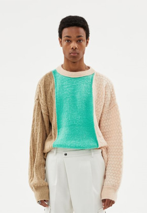 Anderssonbell앤더슨벨 UNISEX BRUSHED CABLE OVERSZIED MOHAIR ROUNDNECK SWEATER atb343u(BEIGE / PALE JADE)