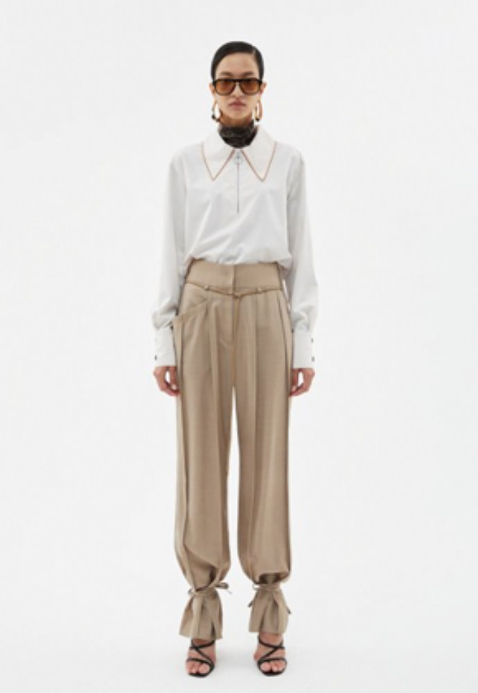 Anderssonbell앤더슨벨 KATINA WIDE ANKLE-STRING WOOL PANTS apa339w(Beige)