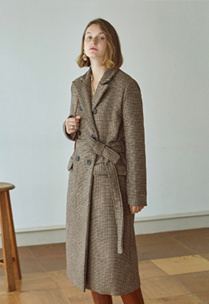Deans딘스 [DEANS] HOUND ROBE DOUBLE LONG COAT_BRICK