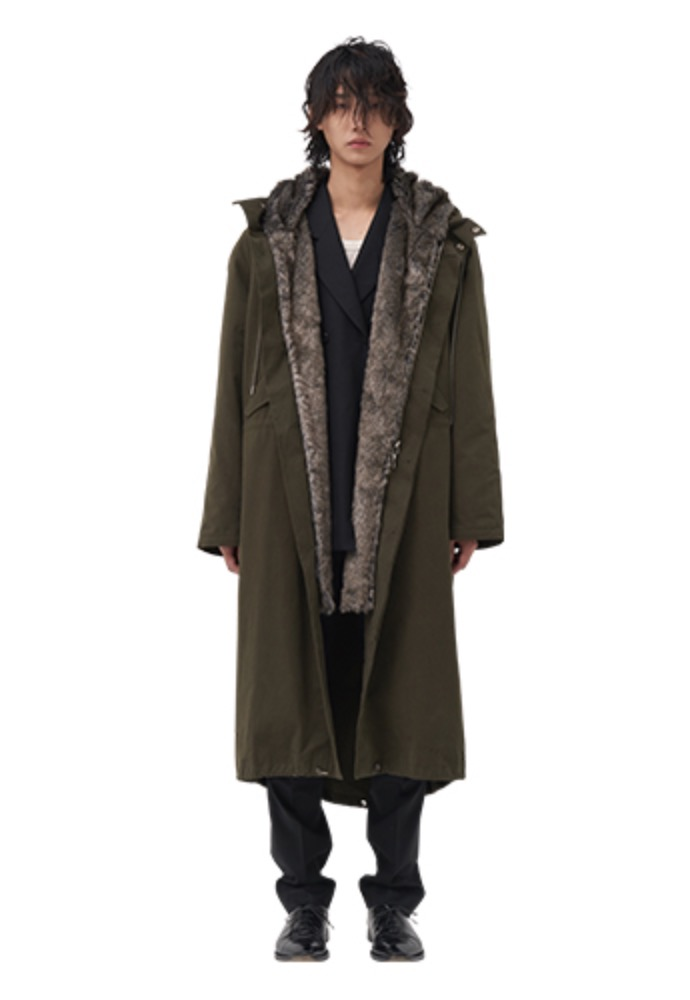 Vuiel뷔엘 FUR LINED LONG PARKA _ KHAKI