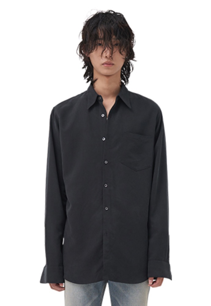 Vuiel뷔엘 LONG SILKET SHIRT _ BLACK