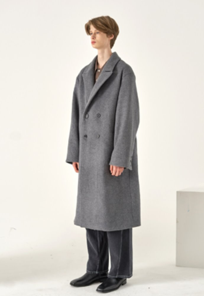 Noun노운 wide lapel double breasted coat(charcoal)