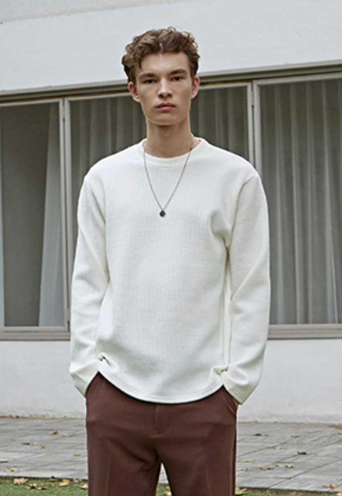 Deans딘스 [DEANS] SOFT R LONG TEE_IVORY