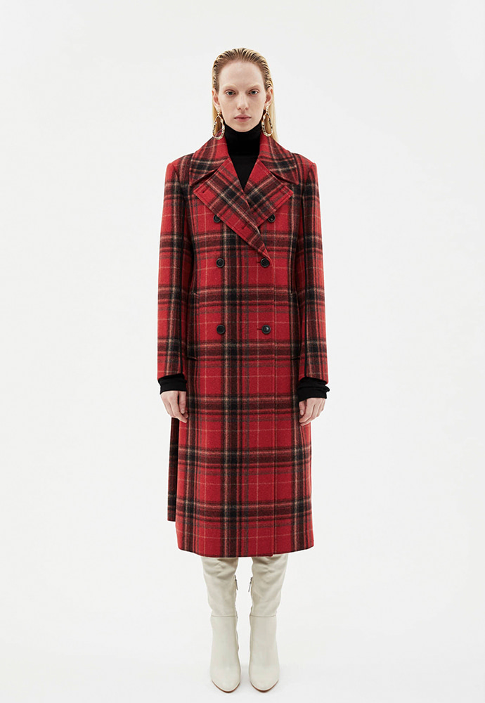 Anderssonbell앤더슨벨 UNBALANCED BACK PLEATS WOOL COAT awa222w(RED CHECK)