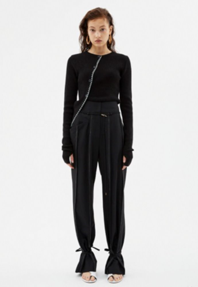 Anderssonbell앤더슨벨 KATINA WIDE ANKLE-STRING WOOL PANTS apa339w(Black)