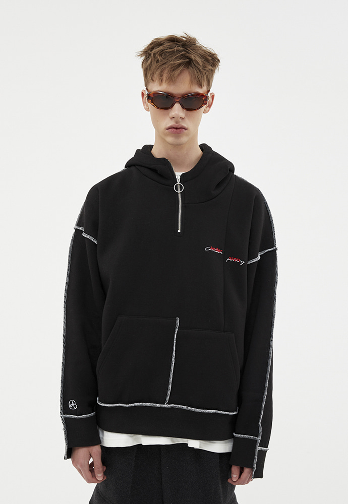 Anderssonbell앤더슨벨 ASYMMETRY STITCH POINT HOODIE atb264u(BLACK)