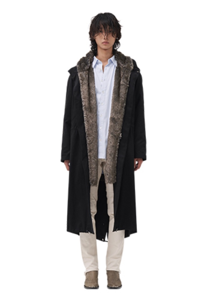 Vuiel뷔엘 FUR LINED LONG PARKA _ BLACK