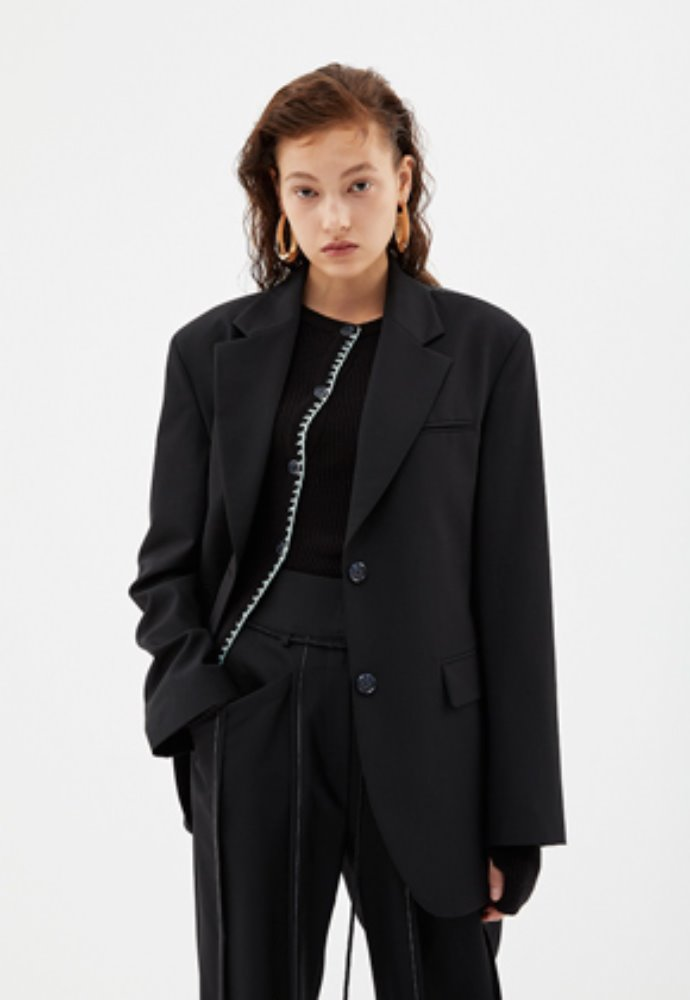 Anderssonbell앤더슨벨 KATINA CINCHED WAIST WOOL JACKET awa280w(Black)
