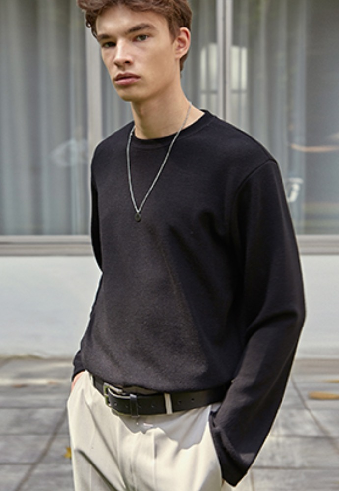 Deans딘스 [DEANS] BASIC WEAR LONG TEE_BLACK