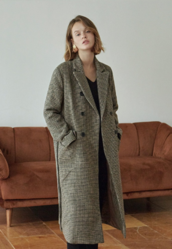 Deans딘스 [DEANS] HOUND ROBE DOUBLE LONG COAT_BROWN