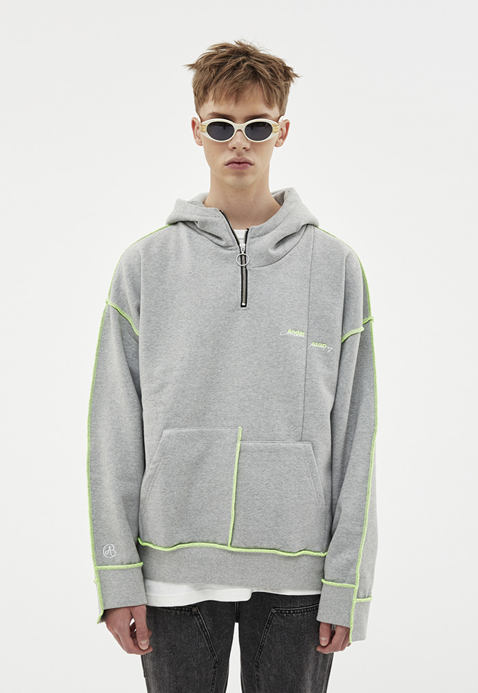 Anderssonbell앤더슨벨 ASYMMETRY STITCH POINT HOODIE atb264u(GRAY)