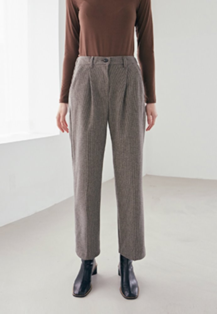 Nicknnicole닉앤니콜 HIGH PINTUCK WOOL PANTS_BROWN